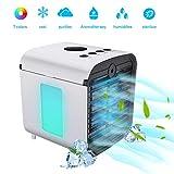 mobile klimageräte, Basein Air Cooler, 4 in 1 Persönliche Klimaanlage, Luftbefeuchter, Luftreiniger und Aroma Diffuser, USB mini luftkühler mit wasserkühlung, 3 Leistungsstufen, 7 Verschiedene Farben