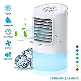 Nobebird tragbare Luftkühler mini Klimaanlage Ventilator Luftbefeuchtung, 2 Timing, 3 Windgeschwindigkeiten,7 verschiedene Farben,Weiß