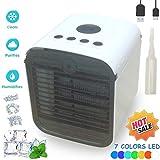 Air Mini Cooler Luftkühler Mobile Klimageräte Klimaanlage, 3 in 1 Portable Luftbefeuchter und Luftreiniger, Klima Ventilator, Leakproof, New Filter Paper