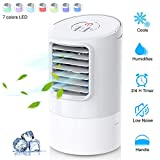 Mobile Klimageräte, Uvistare Mini Persönliche Klimaanlage, 4 in 1 Luftkühler Luftreiniger Luftbefeuchtung Ventilator, 2 Timer 3 Leistungsstufen 7 Verschiedene Farben, Weiß