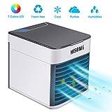 Mini Klimaanlage, Hisome 3 In 1 Mobile Klimageräte USB Mini Persönlicher Luftkühler Ventilator Luftbefeuchter und Luftreiniger mit 3 Geschwindigkeiten 7 Farben LED Licht für Home Office Draussen