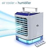 Mobile Klimaanlage mit Fernbedienung LAZCOZY Mini Luftkühler Ventilator Luftbefeuchter mit Verdunstungskühlung Air Cooler mit 3 Stufen & 7 Stimmungslichtern Luftreiniger Standventilator für 8h Kühlung