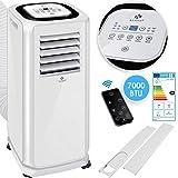KESSER - Klimaanlage Mobiles Klimagerät 4in1 kühlen, Luftentfeuchter, lüften, Ventilator - 7000 BTU/h (2.000 Watt) - Klima mit Montagematerial, Fernbedienung und 24h Timer, Nachtmodus EEK: A Weiß