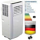 JUNG AIR TV03 mobiles Klimagerät mit Fernbedienung + Abluft-Schlauch - 2,0 KW/7000 BTU - STROMSPAREND, GERÄUSCHARM -65m³ Raum Kühlung, Klimaanlage mobil leise, weiß