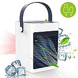 Verdunstungskühler Luftkühler, TedGem Klimagerät Wasserkühlung Mobil, Verdunstungskühler USB 3 in1Luftbefeuchter, Aromamaschine, Ventilator für Zuhause und Büro (Weiß)