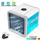 UBEGOOD Mini Luftkühler, Air Cooler Klimagerät Klima tragbar Luftkühler 3 Leistungsstufen 7 LED-Lichtkonvertierungsmodi USB Kühler für Zuhause, drinnen, Büro, Auto im Freien