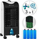 KESSER 3in1 Mobile Klimaanlage | Klimagerät | Ventilator Klimaanlage | 4 L Tank Timer 3 Stufen | Ionisator Luftbefeuchter | Luftkühler | Farbe Weiß/Schwarz
