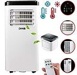 DMS - Klimaanlage Mobiles Klimagerät 4in1 kühlen, Luftentfeuchter Heizung Ventilator - 8000 BTU/h (2.000 Watt) - Klima mit Montagematerial, Fernbedienung und 24h Timer Nachtmodus EEK: A Weiß MKH-8000