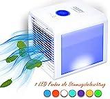 3in1 Mini Air Cooler | 3 Geschwindigkeitsstufen | Stimmungsbeleuchtung | 700 ml Wassertank | Tischventilator | Ventilator | USB Ventilator | (Unicorn White)